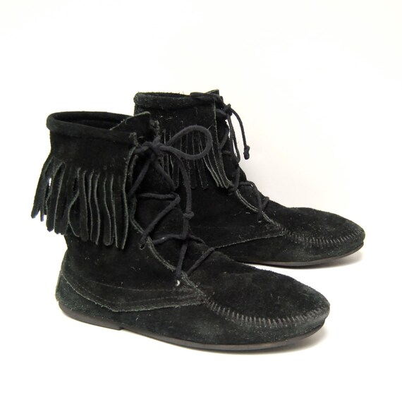 size 10 FRINGE black suede 80s MOCCASIN lace up ankle BOOTIES unisex