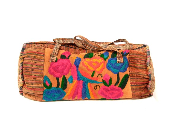 IKAT multicolor 70s 80s embroidered PEACOCK giant cotton DUFFLE overnight bag