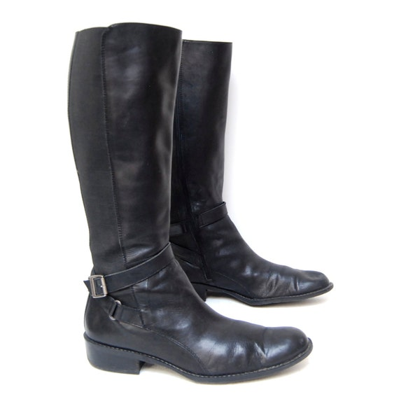 size 10 EQUESTRIAN black leather TALL strappy BUCKLE knee high boots