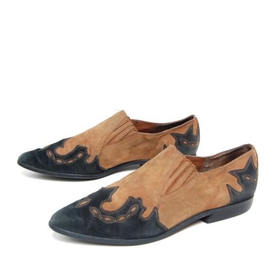size 8.5 SOUTHWEST tan black leather 80s NINE WEST ankle boots