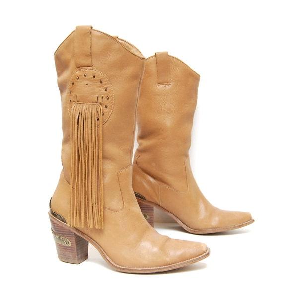 size 7.5 FRINGE slouchy tan leather 80s BIKER southwest metal ENGRAVED heels