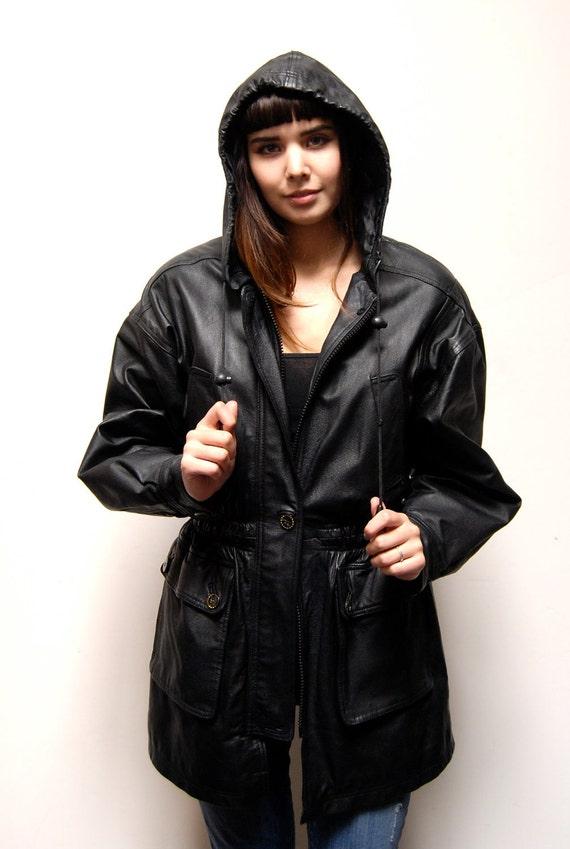 HOODED black leather 80s PARKA jacket