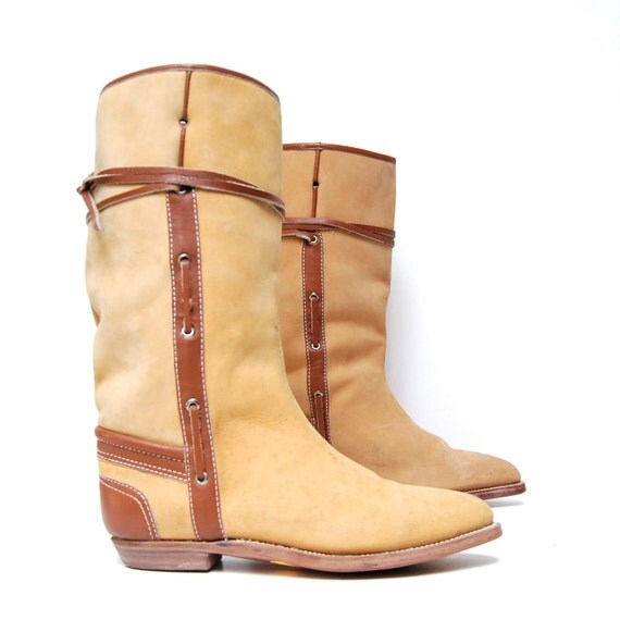 size 9 SAFARI tan leather 80s EQUESTRIAN strappy riding boots