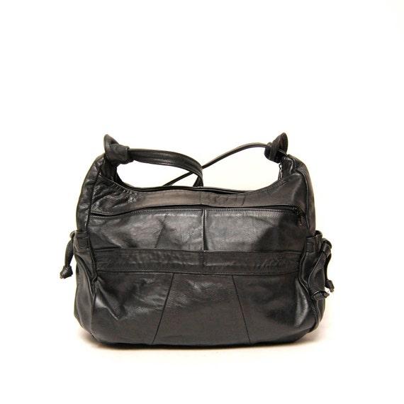 SLOUCHY black leather 80s BOHEMIAN hobo xlarge purse