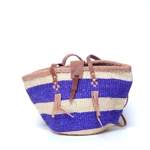 purple STRIPE woven JUTE 70s TOTE bucket sisal bag