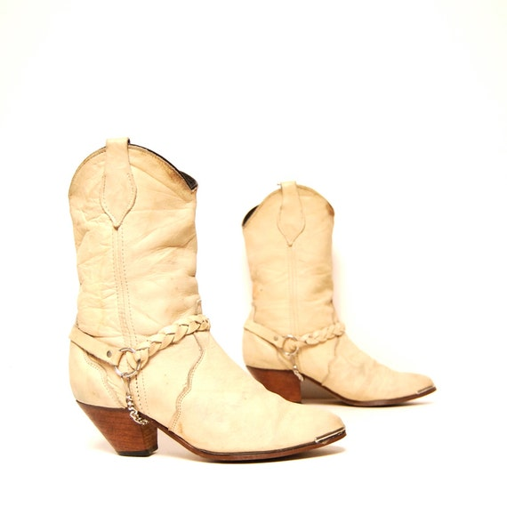 size 6.5 WOVEN tan leather 70s 80s HARNESS chain strap SOUTHWEST boots