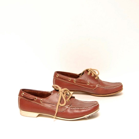 size 7 OXFORD brown leather 80s BOAT DOCKER slip on loafers
