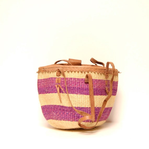 magenta STRIPE woven JUTE 70s TOTE bucket sisal bag on reserve