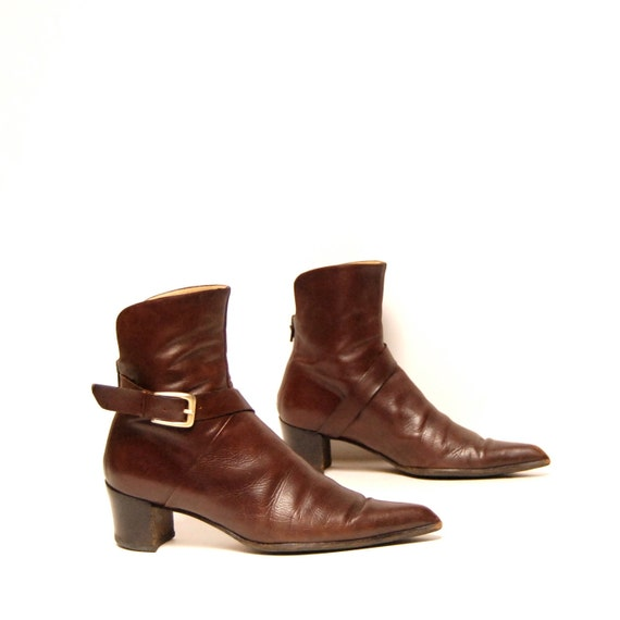 size 8.5 BOHEMIAN brown leather 80s BUCKLE ankle boots