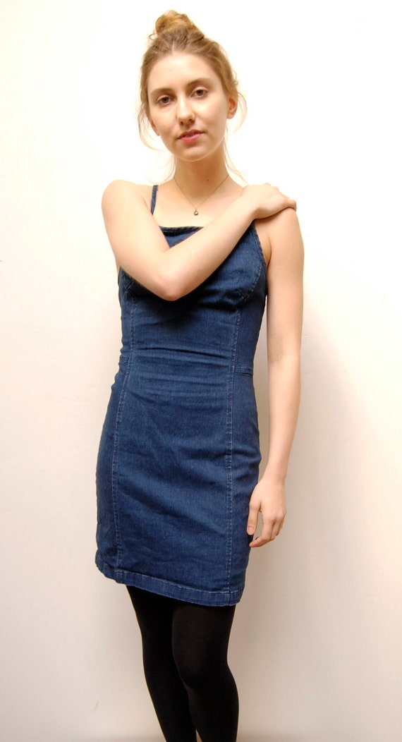 blue DENIM 90s BODY CON spring summer dress
