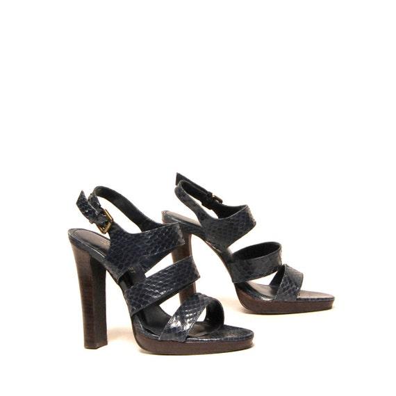 size 9 PLATFORM navy blue snakeskin 70s BOHEMIAN strappy CLOG high heels on reserve