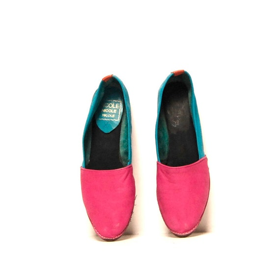 size 9 COLORBLOCK pink turquoise leather 80s SPRING flats