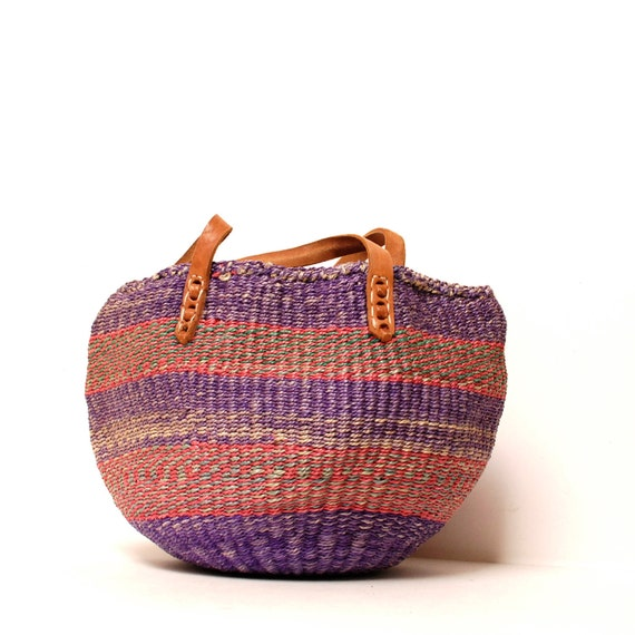 SISAL pink purple STRIPE woven JUTE 70s bucket tote bag