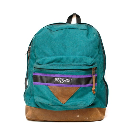vintage 90s JANSPORT turquoise canvas PURPLE stripe triangle