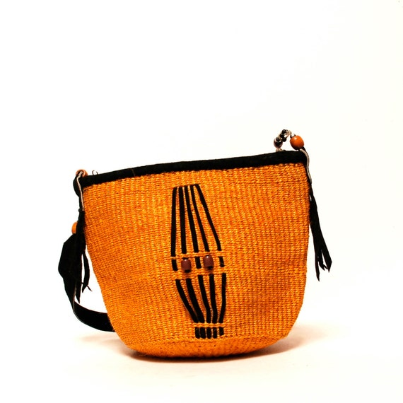 woven JUTE 70s orange TOTE bucket sisal bag