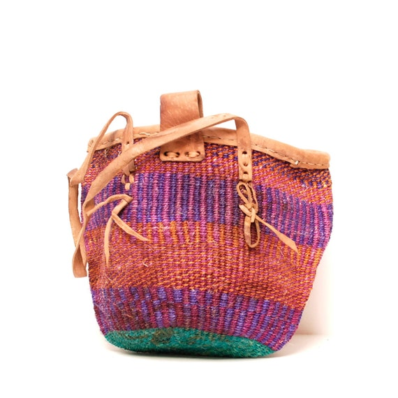 woven JUTE 70s pink purple STRIPE leather TOTE bucket bag on reserve for FaceforRadio