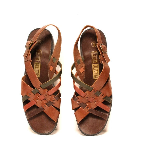 size 9 MULTICOLOR woven leather 80s GLADIATOR cut out slingback sandals