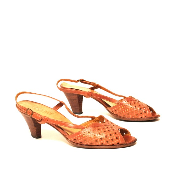 size 10 BOHEMIAN tan leather 70s CUTOUT strappy summer heels