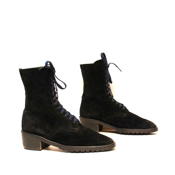 size 10 GRUNGE black suede 80s COMBAT designer ankle boots