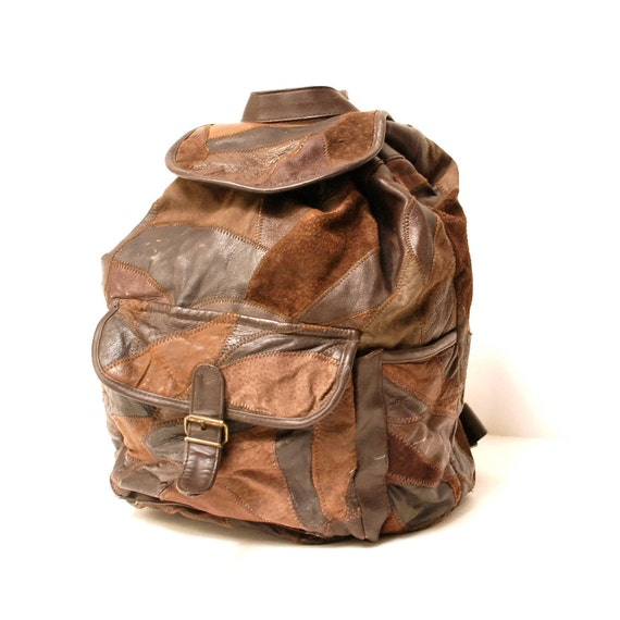 brown LEATHER 80s BACKPACK patchwork rucksack grunge UNISEX