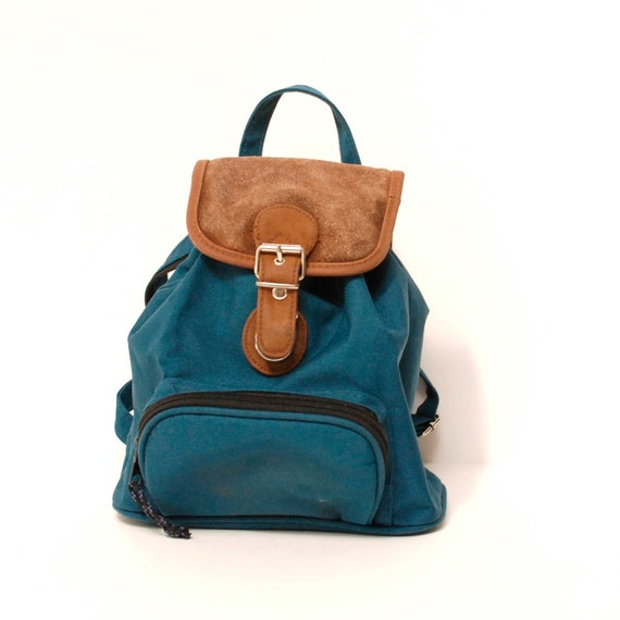 TURQUOISE canvas 80s BROWN SUEDE mini small backpack