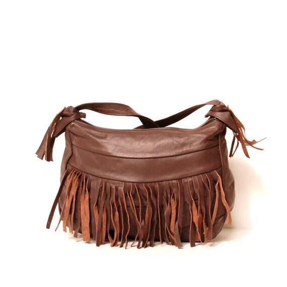 FRINGE maroon leather 80s SLOUCHY HOBO zip up purse