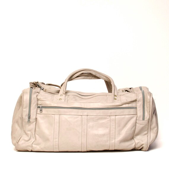 creamy white LEATHER 80s DUFFLE travel overnight X LARGE bag