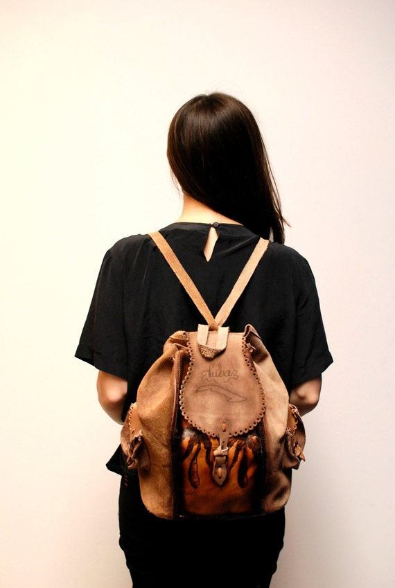 BOHEMIAN brown leather 80s RUCKSACK backpack