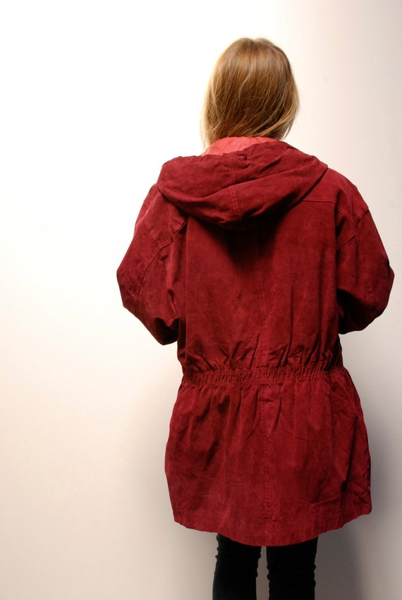 PARKA red velvet leather 80s 90s HOODED TOGGLE coat