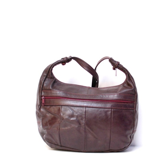 SLOUCHY maroon leather 80s BOHEMIAN hobo purse