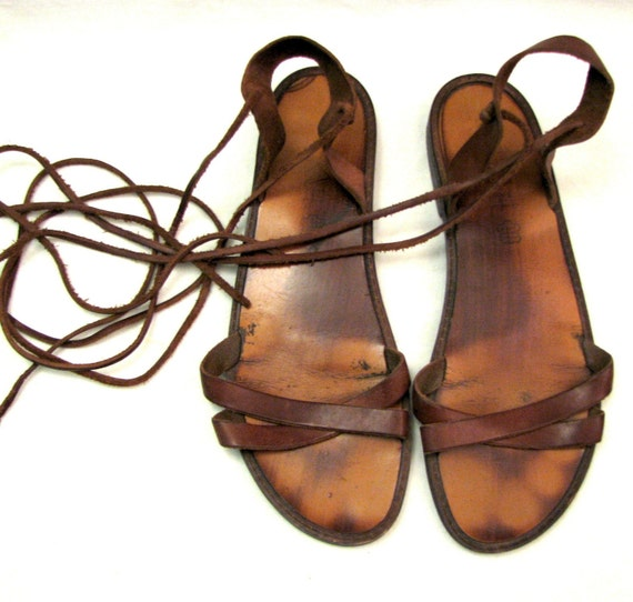 Authentic Gladiator Sandals Straps Wrap Up Calf Or Ankle Size