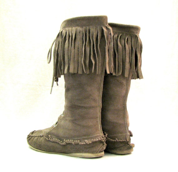 Boho Moccasin Fringe Tan Suede Native American By