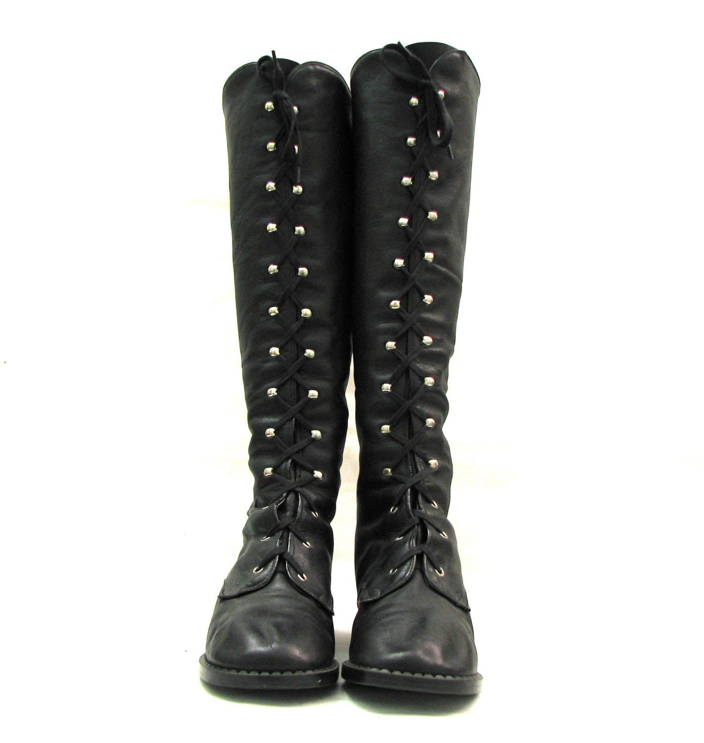 black leather knee high lace up combat boots size 9 5 10
