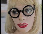 Vintage 1980s 90s Stylish Black  round Frame Eye nerd Glasses clear lense