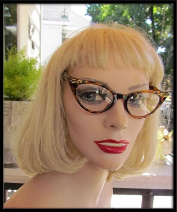 Tortoise Vintage Cat eye  catseye 1950s style RHINESTONE clear lense glasses