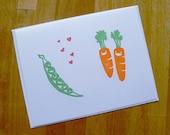 Peas Love Carrots Single Notecard - Bright Happy Veggies