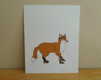 Animals on the Run Illustration - Foxy -  8x10 Archival Digital Art Print