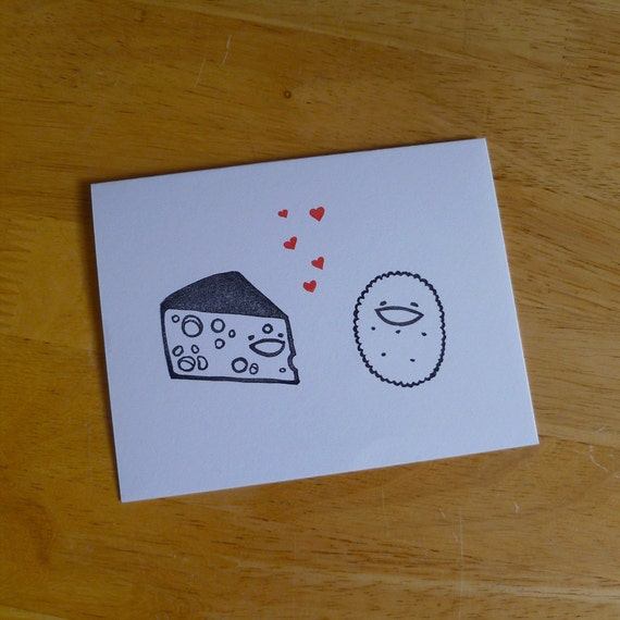 Cheese Loves Cracker Notecard Set (4 Stamped Cards and Envelopes)