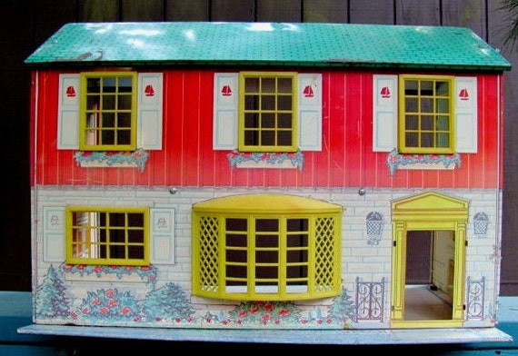 RESERVED for Kyle  Vintage Doll House Wolverine Tin Litho Two Story ON SALE