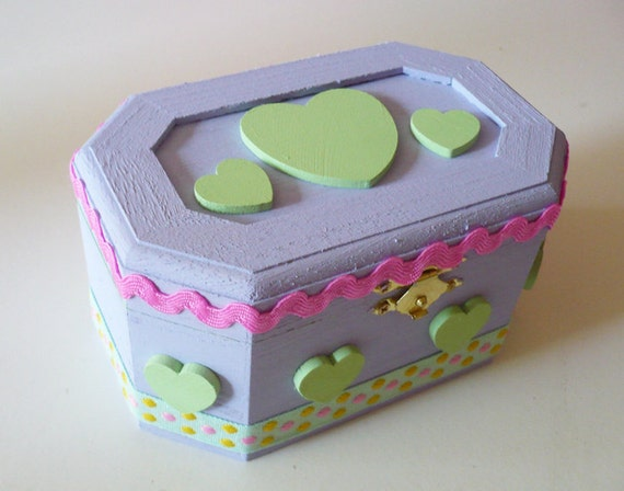 MISS ALPHABET lavender wood mint green heart jewelry box fairy kei