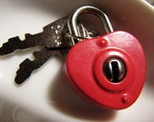 Red heart lock with two keys