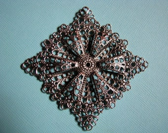 LAST ONE - Huge vintage silver filigree 2.25 inches