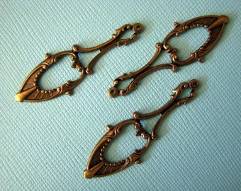 Elegant oxidized brass drops charms pendants 42mm (3)