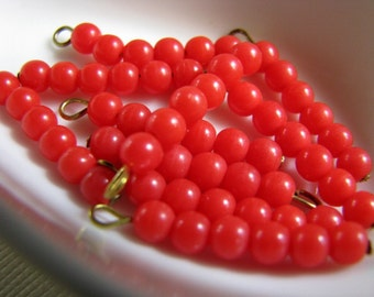 Vintage red glass beaded drops dangles findings  (10)
