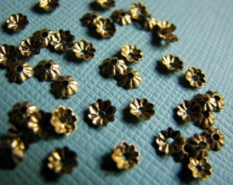 Itty bitty raw brass bead caps 3mm (12)
