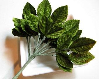 Vintage Japanese green velvet tri - leaves  (12)
