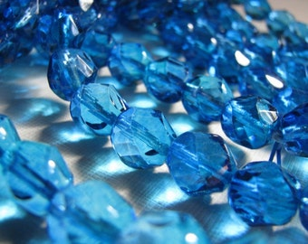 Vintage faceted blue glass beads - 12mm  (12)