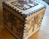 Dragonfly Art Deco Cedar 4 inch Cube Box
