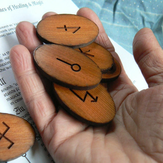 Medieval Runes of Healing and Magic  on Cedar