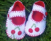 Cherry  Baby Shoes / Felt Booties / Baby Clothes / New Baby Gift
